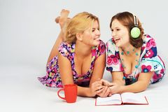 Two lovely friends having fun together Royalty Free Stock Images