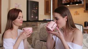 Two sisters drink coffee sitting on the couch. Two lovely gentle girls sit on the couch and drink tea from large mugs. The concept of a happy family. Sisters stock video