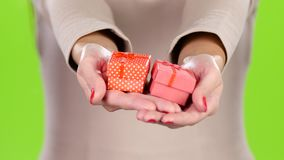 Two lovely gift in the hands of women. Close up. Two lovely gift in the hands of women, give gift boxes, small cardboard box wrapped in pink and polka dot stock footage