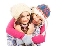 Two lovely girlfriends in winter clothing Stock Photos