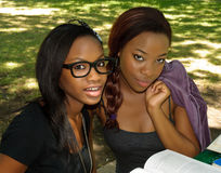 Two lovely girls in the park Stock Photo