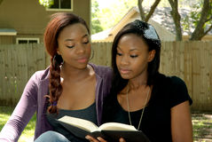 Two lovely girls in the park. Two lovely African girls at the park, studying with an open book Stock Photo