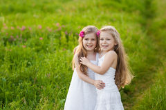 Two lovely girls playing on meadow Royalty Free Stock Photo