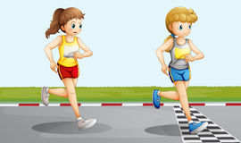Two lovely girls racing Royalty Free Stock Image