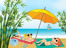 Two lovely girls relaxing at the beach. Illustration of two lovely girls relaxing at the beach Royalty Free Stock Photo