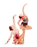 Two lovely gymnasts dancing Stock Images