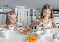 Two lovely sisters eating healthy breakfast Stock Photography