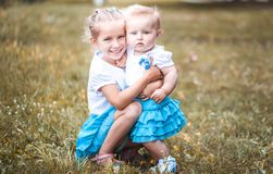 Two lovely sisters Stock Photos