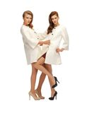Two lovely teenage girls in white coats Stock Photography