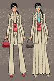 Two lovely trendy girlst.Fashion Illustration. Royalty Free Stock Photo