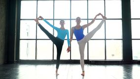 Two lovely yoga women doing yoga together in studio with large windows. Young women doing yoga. Women doing a yoga class. Two lovely yoga women doing yoga stock footage