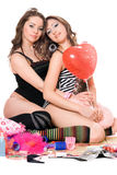 Two lovely young girlfriends. Isolated Royalty Free Stock Image