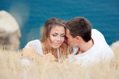 Two lovers. Near the seashore Royalty Free Stock Image