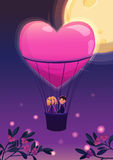 Two lovers in a balloon on the moon background. Royalty Free Stock Images