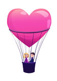 Two lovers in balloon on white background. Stock Photography