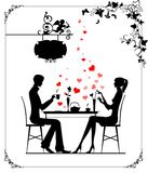 Two lovers in the cafe