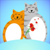 Two lovers cat with flowers Stock Photos