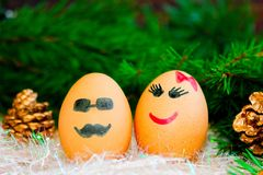 Two lovers celebrate Christmas . Unusual eggs with the muzzle. T. Wo eggs the love . The cartoon Christmas decorations Royalty Free Stock Images