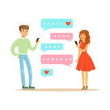 Two lovers chatting with their mobile phones colorful character vector Illustration. Isolated on a white background Stock Image