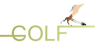 Golfer lawnmower Royalty Free Stock Photo