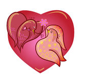 Two lovers doves.  illustration,  Royalty Free Stock Image