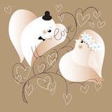 Two lovers doves. Retro styled illustration, Royalty Free Stock Photos
