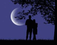 Two lovers embracing and looking at a luminous moon under a roma. Ntic purple night sky with stars - vector Stock Photos