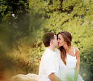 Two lovers in forest Stock Photography