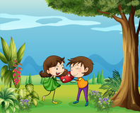 The two lovers in the forest Royalty Free Stock Photos