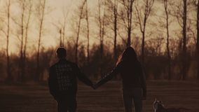 Two lovers go towards the sunset holding hands. Slow motion. Two lovers go towards the sunset holding hands. Back view. Beautiful spring alley. Young couple stock footage