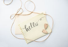 Two lovers heart patterns and words hello for greating card Stock Photos