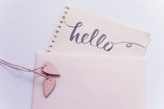 Two lovers heart patterns and words hello for greating card Stock Photography