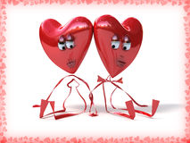 Two lovers hearts on white background. Holiday illustration Royalty Free Stock Photos