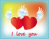 Two lovers hearts with wings. Two enamored hearts fly on the wings of love Stock Image