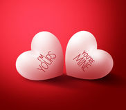 Two Lovers Hearts with You're mine and I'm Yours for Valentines Stock Photo