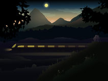 Two lovers in the hills and mountains observing Ni. Ght Train. Easy to edit because of many named layers. All items are layered in for easy removal vector illustration