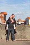Two lovers at the historic bridge in Gdansk, Poland Stock Photos