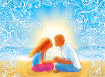 Two lovers kissing on the  beach. Two young lovers kissing on the ocean beach Royalty Free Stock Images