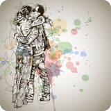 Two lovers kissing & floral calligraphy Stock Image