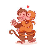 Two lovers monkeys kissing. Cute cartoon character for greeting card for Valentine's Day. Monkeys  on a white background Stock Image