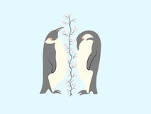 Two lovers penguin. And tree of hearts Stock Photography