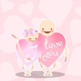Two lovers pink heart. The boy hugs a girl with a bow. Funny vector characters. Congratulations on the Valentine`s day. Illustration Stock Photos