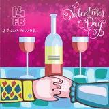 Two lovers for a romantic dinner with wine on Valentine`s day Royalty Free Stock Photos