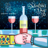 Two lovers for a romantic dinner with wine on Valentine`s day Royalty Free Stock Image