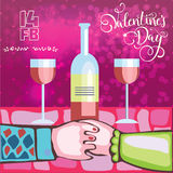 Two lovers for a romantic dinner with wine on Valentine`s day Stock Image
