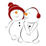 Two lovers snowman Stock Images
