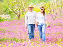 Two lovers in spring garden Royalty Free Stock Photo