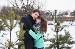 Two lovers walk in the winter park near the pines. Two lovers walk along the winter park near the pines. The couple is walking in the city park, against the Stock Image