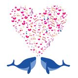 Two lovers whale with a musical heart. Stock Photo