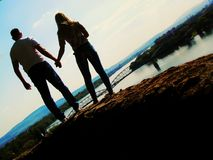Two lovers. Young lovers visited beautiful place in the world Prague Royalty Free Stock Image